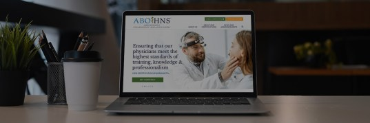 The American Board of Otolaryngology - Head and Neck Surgery website seen on a laptop screen
