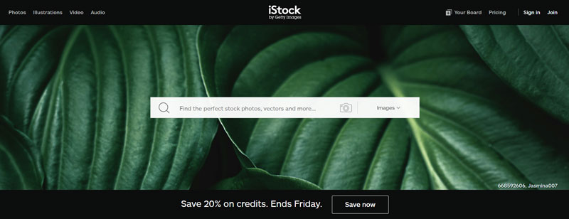 istockphoto homepage screenshot