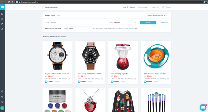 oberlo products shopify
