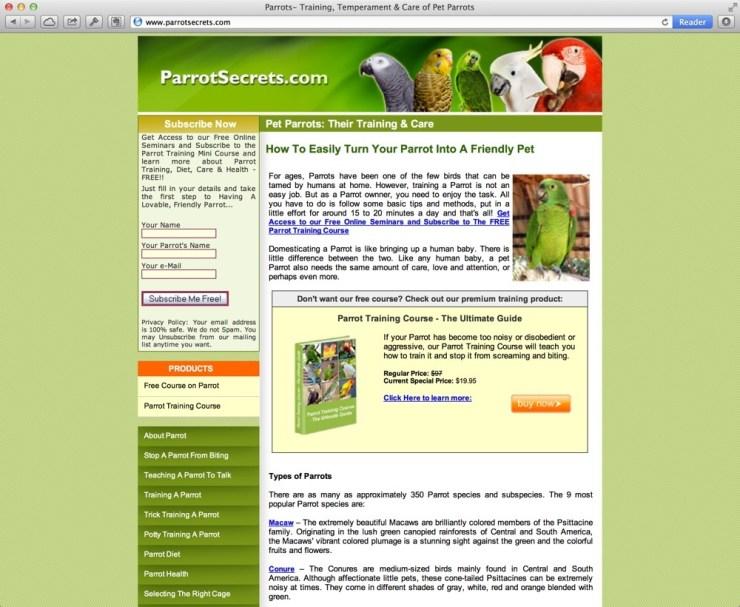 Kuvakaappaus Parrot Secrets -sivustosta
