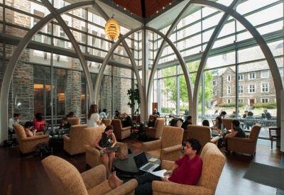 Scene from inside the Von Der Heyden Pavilion, Perkins Library, on Duke's West Campus.