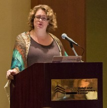Bethany Nowviskie delivers the opening keynote at the 2014 DLF Forum in Atlanta.