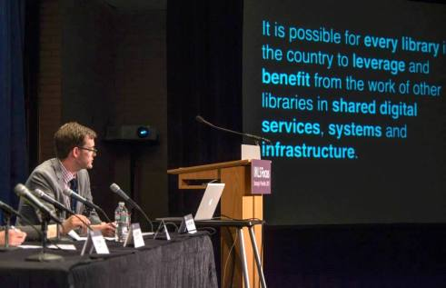 "Trevor Owens, Senior Program Officer at IMLS, opening the ""Defining and Funding the National Digital Platform"" panel at the IMLS Convening at the DC Public Library on April 28, 2015 to address the National Digital Platform."