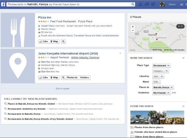 """Restaurants my friends in Nairobi Kenya like"" query"