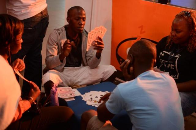 Matatu game fans playing game at Orange Expo 2013