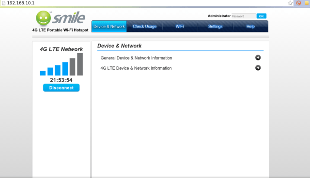 smile mifi web interface