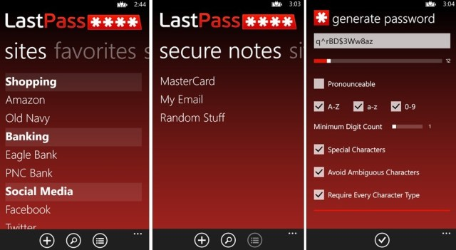 LastPass screens