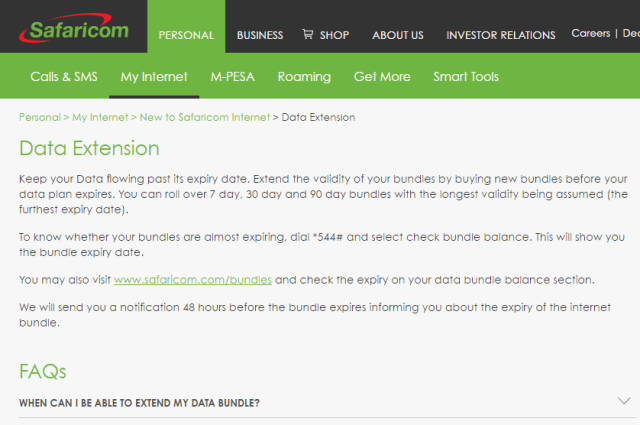 safaricom data extension