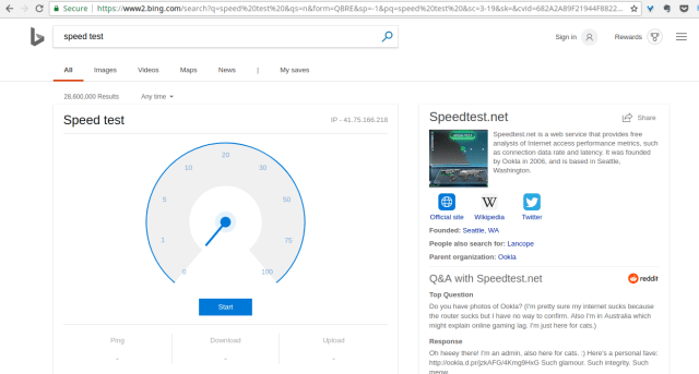 bing speed test