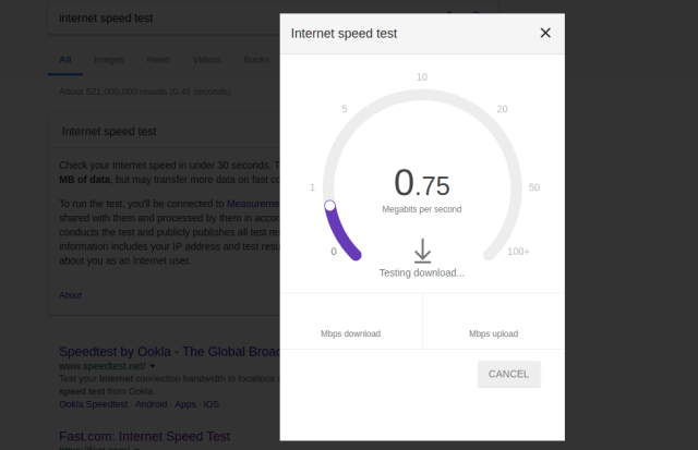 internet speed test google search
