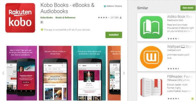 Kobo Top 5 Android eBook readers