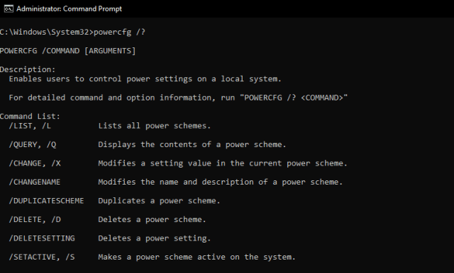 command prompt: powercfg