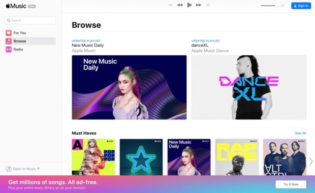 A screenshot of Apple Music Web Player