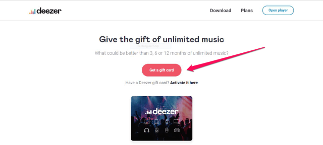 screenshot of deezer's website showing the button for Getting a gift card