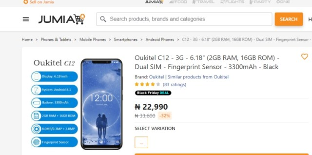 Jumia Nigeria Black Friday Smartphone Deal