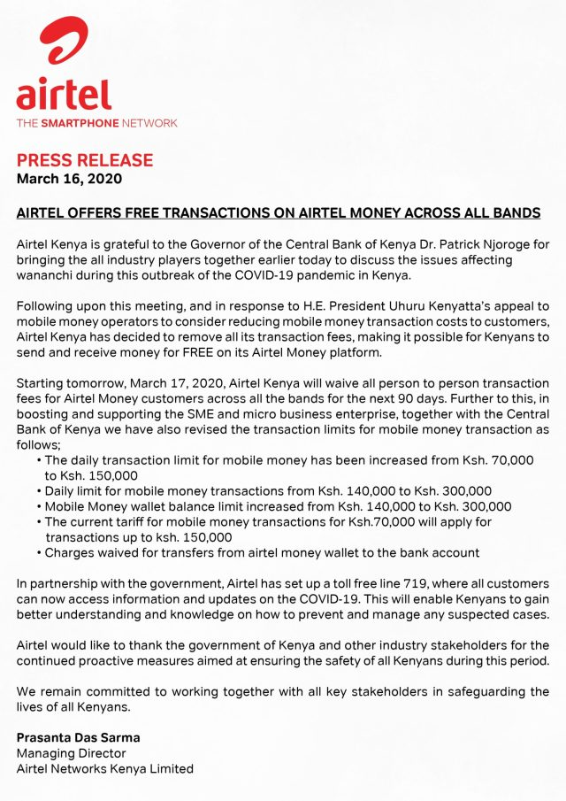 airtel money covid-19