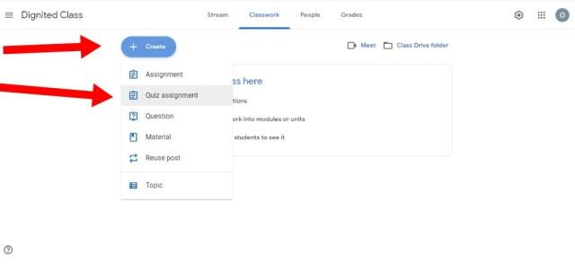Quiz Assignment in Google Classroom