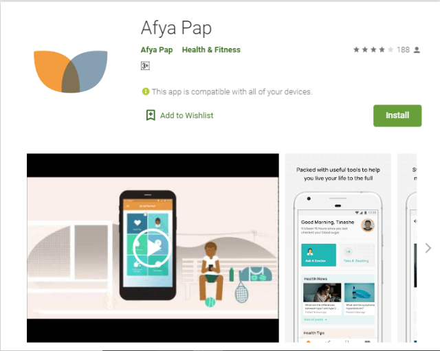Screenshot of Afya Pap app on Google Play Store