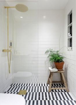 41 Cool Bathroom Floor Tiles Ideas You Should Try   DigsDigs black and white striped