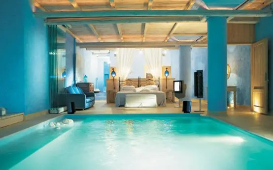 Bedroom With A Pool In The Mykonos Blu Resort (via <a rel=