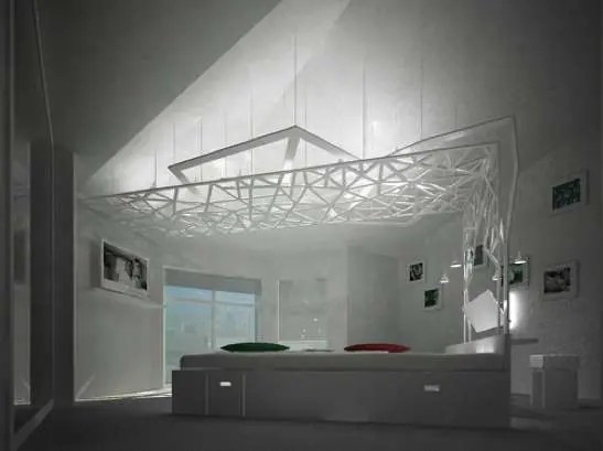 A Bedroom With A Complicated Canopy (via <a rel=
