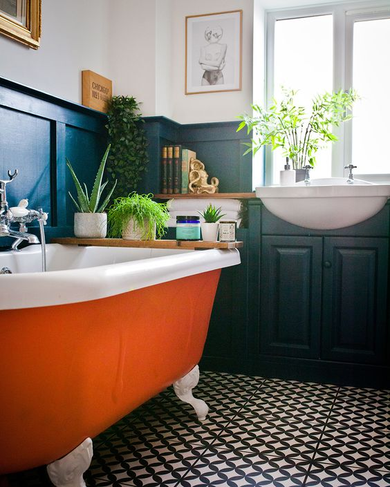 50 Cool Orange Bathroom Design Ideas - DigsDigs on Monochromatic Bathroom Ideas  id=74965