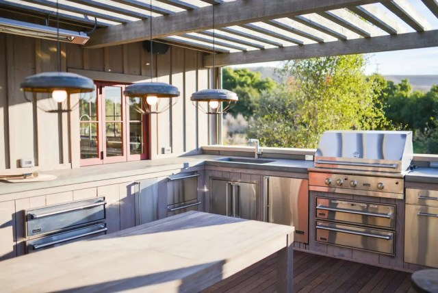 Don't forget that you need almost as much storage space in your outdoor kitchen as you have indoors.