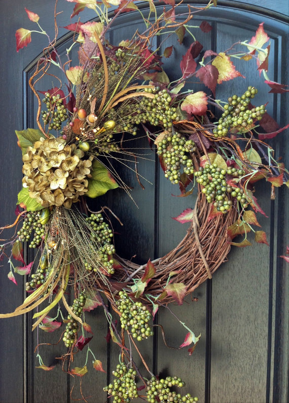 67 Cute And Inviting Fall Front Door Décor Ideas - DigsDigs on Vine Decor Ideas  id=55081