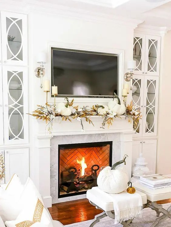 a beautiful white fall mantel decor