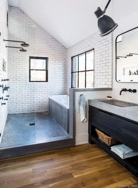62 Cozy And Relaxing Farmhouse Bathroom Designs - DigsDigs on Farmhouse Bathroom Floor Tile  id=87820