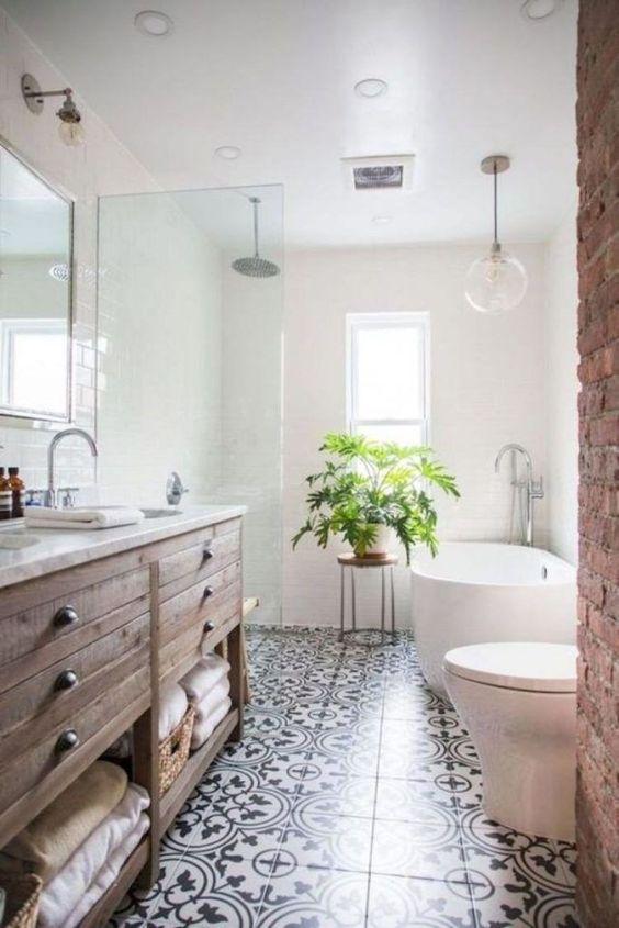 62 Cozy And Relaxing Farmhouse Bathroom Designs - DigsDigs on Farmhouse Tile Bathroom Floor  id=77544