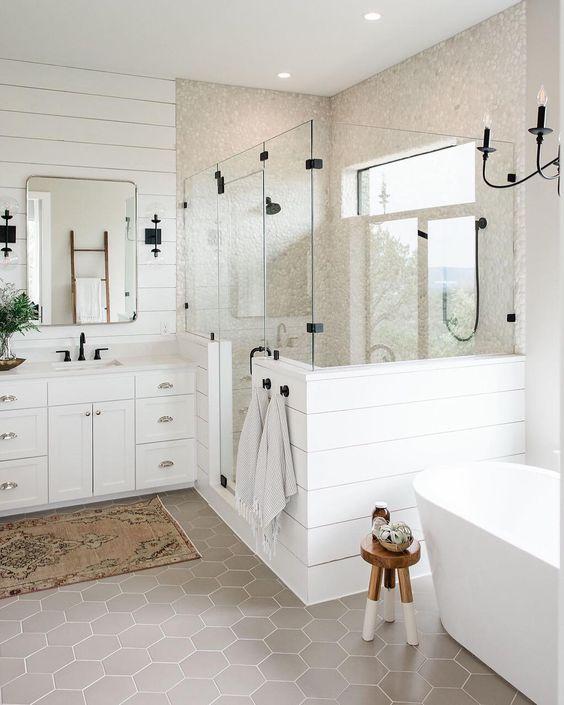 62 Cozy And Relaxing Farmhouse Bathroom Designs - DigsDigs on Farmhouse Bathroom Floor Tile  id=57512