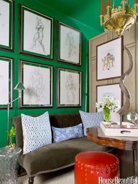 Gold foil and mint lip print 8x10 by taryn st. 27 Daring Red And Green Interior Décor Ideas - DigsDigs