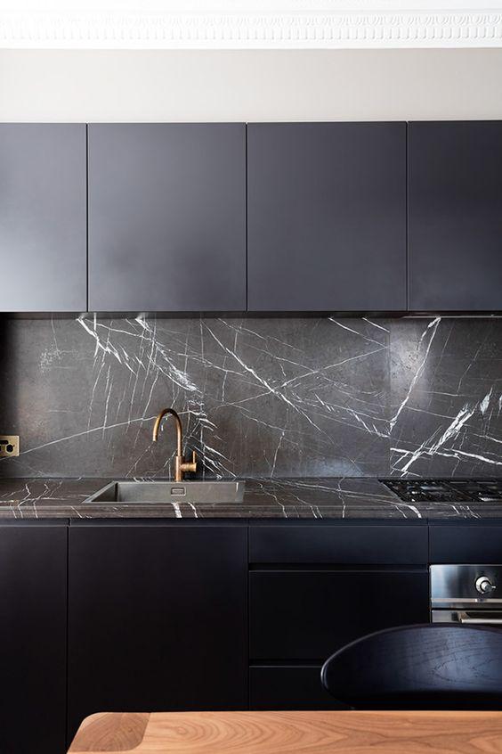 27 Moody Dark Kitchen Décor Ideas - DigsDigs on Modern Backsplash For Dark Countertops  id=93598