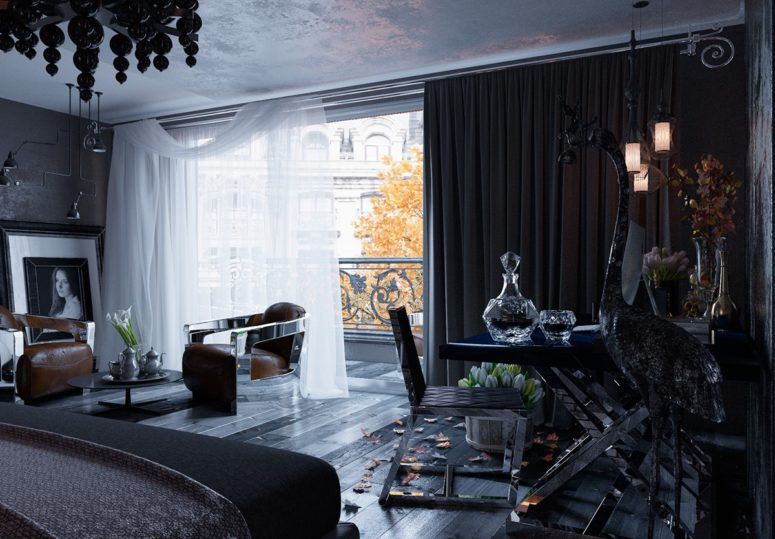 All Black Modern Gothic Bedroom Design DigsDigs