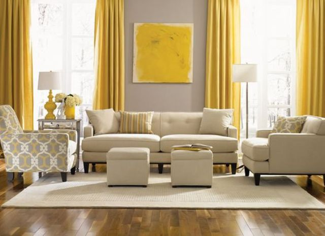 Beautiful Yellow Living Room Curtain Ideas Fabric Vertical White Cover Sofa Grey Gingham