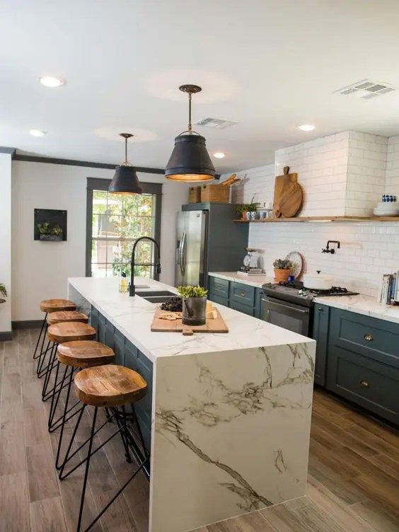 39 Trendy And Chic Waterfall Countertop Ideas - DigsDigs on Modern:0Bjn4Cem9Be= Kitchen Counter  id=78135