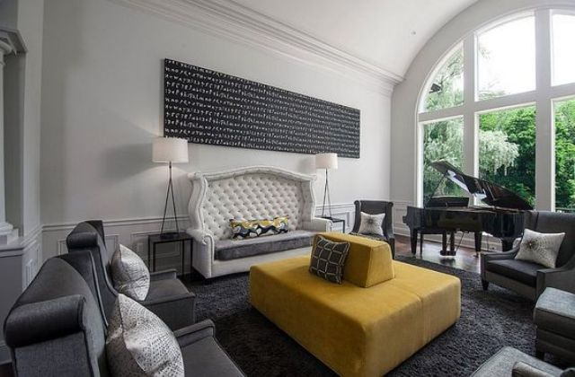 Grey Accent Chair Ottoman