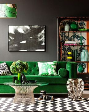 30 Green And Grey Living Room D    cor Ideas   DigsDigs bold living room in grey  black and white with bright green splashes and  red touches