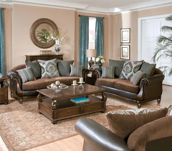 26 Cool Brown And Blue Living Room Designs   DigsDigs traditional brown living room in rich tones  refined wood and blue  draperies to make the