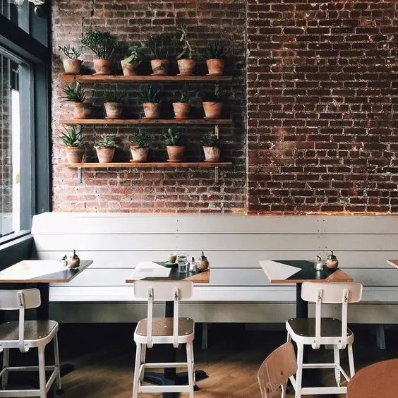 35 Cool Coffee Shop Interior Decor Ideas   DigsDigs cute little cafe with an industrial and mid century feel