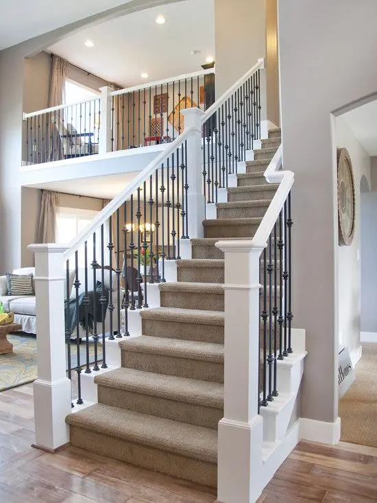 33 Wrought Iron Railing Ideas For Indoors And Outdoors Digsdigs | Wrought Iron Baluster Designs | Rot Iron Staircase | Rod Iron | Metal Rail | Stair Railing | Replacement
