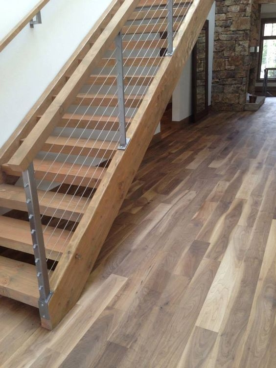 38 Edgy Cable Railing Ideas For Indoors And Outdoors Digsdigs   Barn Wood Stair Railing   Industrial   Farmhouse   Wood Plank   Entryway Stair   Upstairs