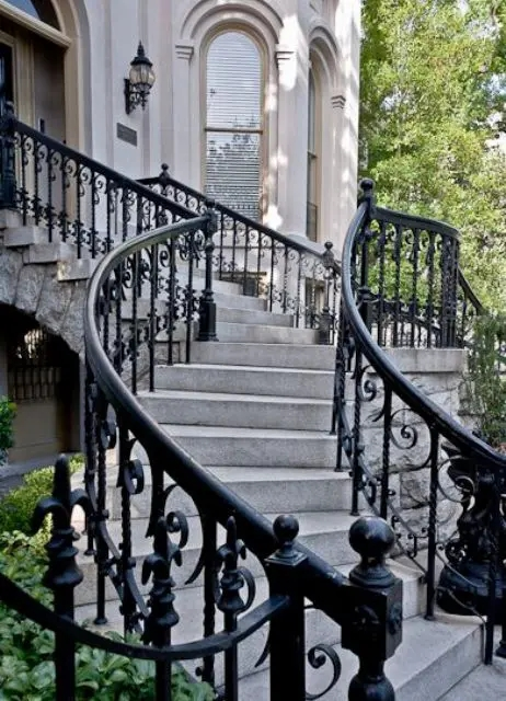 33 Wrought Iron Railing Ideas For Indoors And Outdoors   Outdoor Wrought Iron Stair Railing Near Me   Ornamental Iron   Front Porch Railings   Railing Steel   Custom   Railing Designs