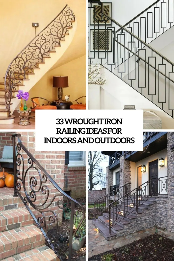 33 Wrought Iron Railing Ideas For Indoors And Outdoors Digsdigs   Wrought Iron Handrail Designs   Staircase   Iron Pipe   Cast Iron Railing   Garden   Geometric Railing