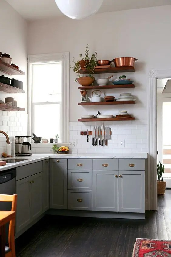 Dark Stained Wooden Floating Shelves Traditional Kitchen Look