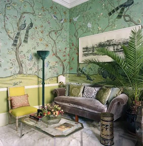 Green Feature Wallpaper Living Room Best Livingroom 2017 Part 45