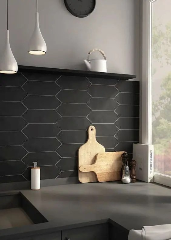 30 Matte Tile Ideas For Kitchens And Bathrooms - DigsDigs on Kitchen Backsplash Black Countertop  id=36342