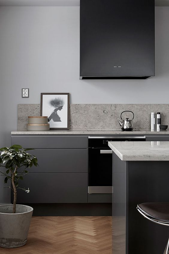 30 Grey Kitchens That You'll Never Want To Leave - DigsDigs on Modern Backsplash For Dark Countertops  id=79735
