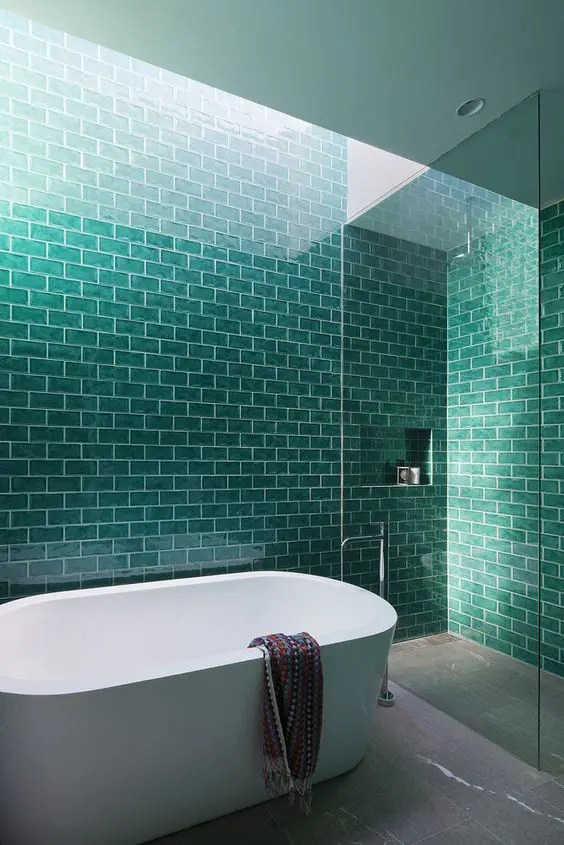 Blue Green Wallpaper Bathroom